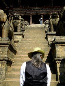 Becca Tzigany, temple steps, Nepal