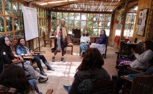 Becca teaching communication, Retiro at Bee Farm