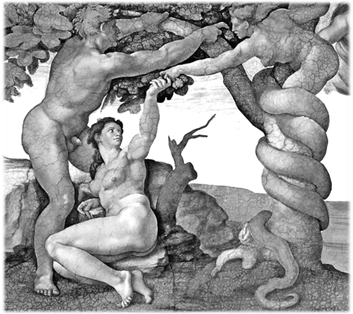 Temptation and Fall (detail), fresco on Sistine Chapel ceiling by Michelangelo Buonarroti (1509) Note serpent depicted as Lilith