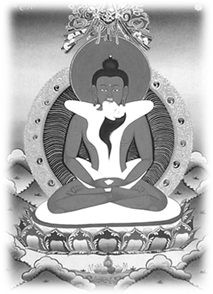 Boddhisattva in ecstatic union with consort, in a yab-yum position. From a Tibetan thangka.