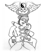 "Kundalini ""serpents"" energize the couple making love in a standing yab-yum. Drawing after Khajuraho sculpture, by B.Tzigany"