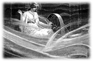 Frigg Spinning the Clouds by John C. Dollman (1865)