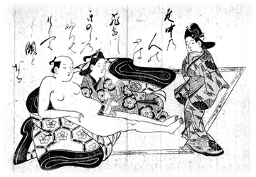 Illustration from Shunga album (1680's), Japan, by Hishikawa Moronobu