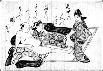 Illustration from Shunga album (1680's), Japan, by Hishikawa Moronobu