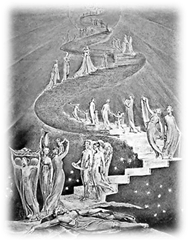 Jacob's Ladder, watercolor by William Blake (1800)