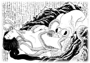 The Dream of the Fisherman's Wife (c.1820), woodcut, by Katsushika Hokusai , Japan