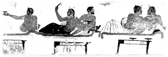 Men loving men, fresco from the Tomb of the Diver (475BCE), Italy