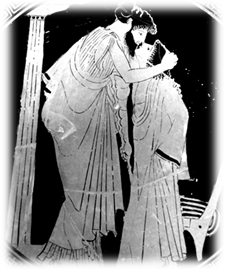 "Erastes (lover) & Eromenos (beloved) Kissing, from Greek cup (c.480 BCE), by ""the Briseis Painter"""