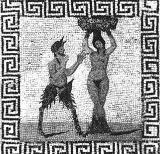 Ithyphallic Pan, pursuing tree nymph, tile mosaic from Pompeii, 1st century CE