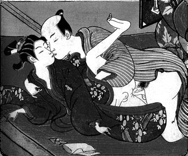 Shunga detail, woodblock print (c.1750), by Suzuki Harunobu, Japan