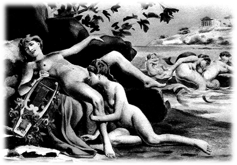 Sappho by Édouard-Henri Avril (1843-1928), lithograph