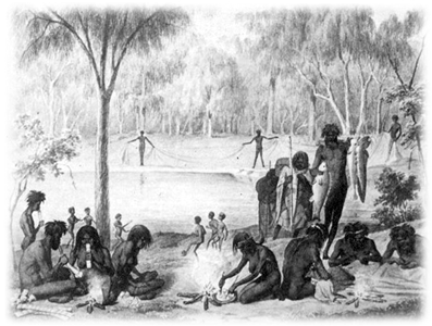 Koori domestic scene from Australien in 142 Photographischen Abbildungen (1857) by William Blandowski