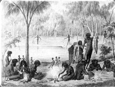 Koori domestic scene from Australien in 142 Photographischen Abbildungen (1857) by William Blandowski
